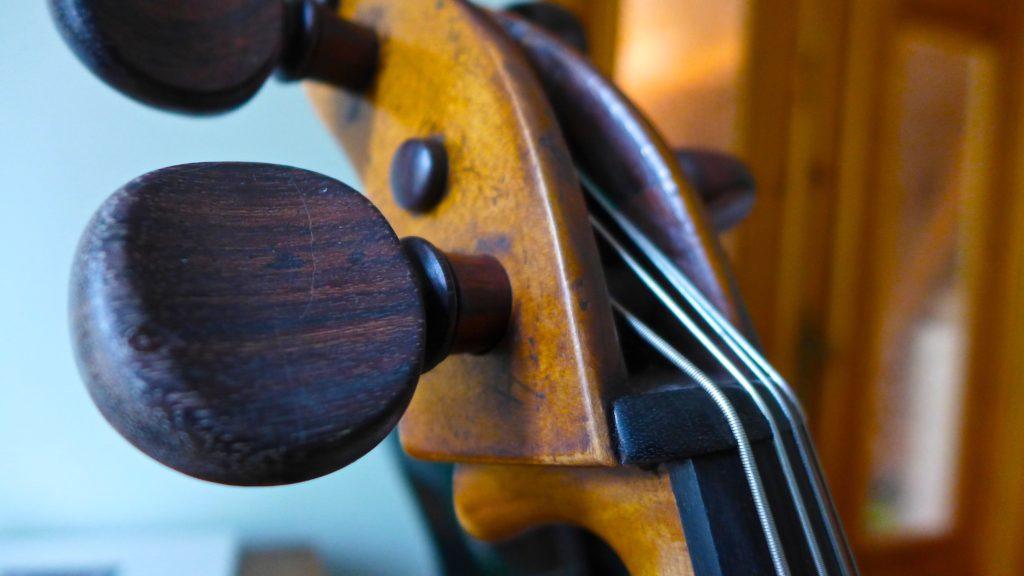 """Joe"", Rebecca's 18th century cello. Photo: Megan Spencer (c) 2016"